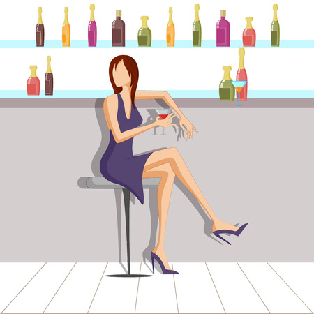 girls night out: Beautiful woman enjoying drink in bar. Vector illustration Illustration