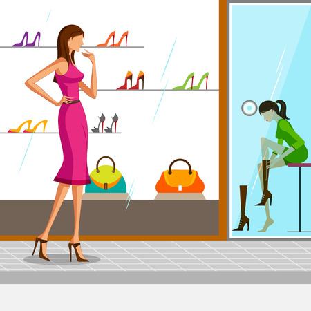 choosing: Beautiful woman trying shoe. Vector illustration Illustration