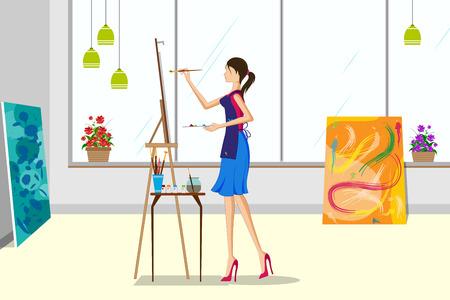 Mooie vrouw die canvas het schilderen doet. Vector illustratie