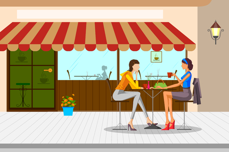 woman resting: Beautiful women drinking tea in cafe. Vector illustration Illustration