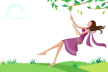 swinging: Beautiful woman swinging in park. Vector illustration Illustration