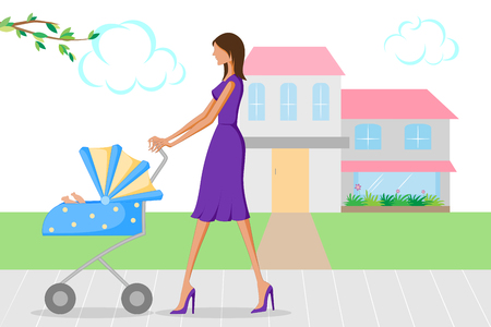 Beautiful woman walking with baby in pram. Vector illustration