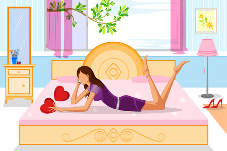 laying: Beautiful woman talking on phone laying on bed. Vector illustration Illustration