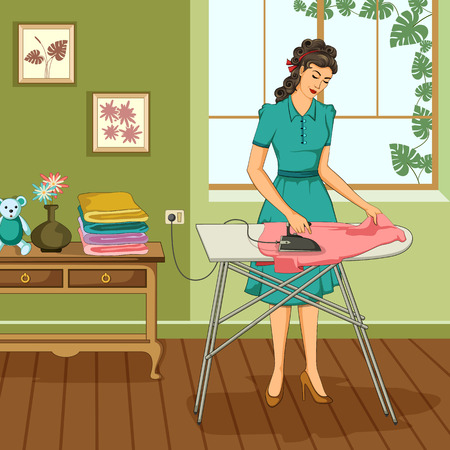 Concept of retro woman doing ironing of clothes. Vector illustration