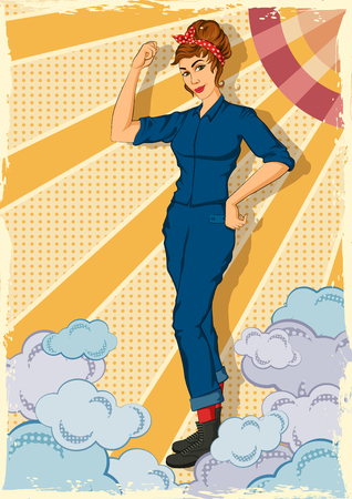 Concept of retro powerful woman showing fist symbolising We Can Do IT. Vector illustration