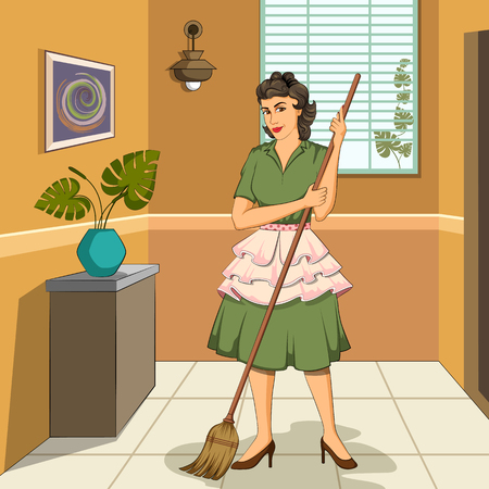 mom and pop: Concept of retro woman mopping the floor of house. Vector illustration Illustration