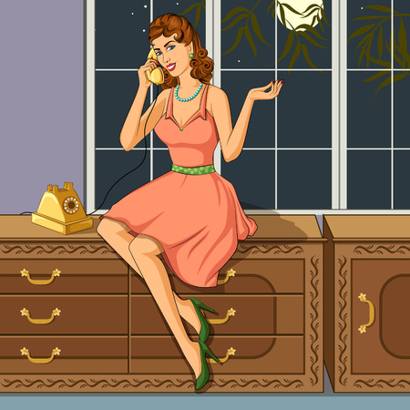 woman on phone: Concept of retro woman chatting on phone. Vector illustration