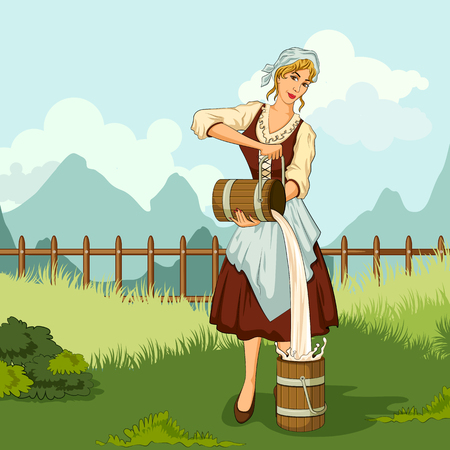 Concept of retro woman milkmaid pouring milk in canister. Vector illustration Illustration