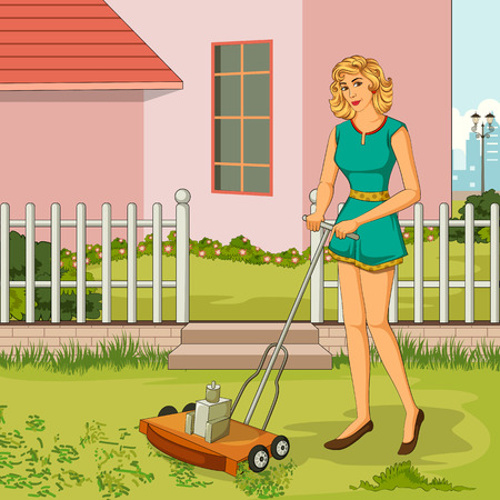 trimming: Concept of retro woman trimming lawn with Lawnmower in garden. Vector illustration