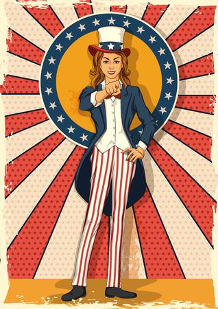 Concept of retro woman posing like Uncle Sam symbolising I WANT YOU. Vector illustration  イラスト・ベクター素材