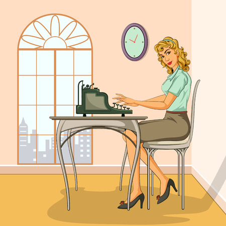Concept of retro woman typing on typewriter. Vector illustration