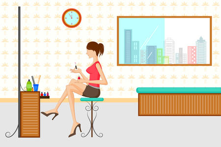 dressing treatment: Beautiful woman doing makeup infront of dressing table. Vector illustration Illustration