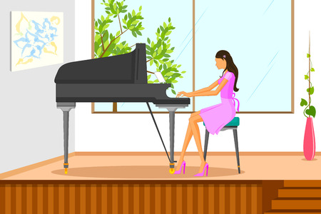 melodic: Beautiful woman playing music on piano. Vector illustration