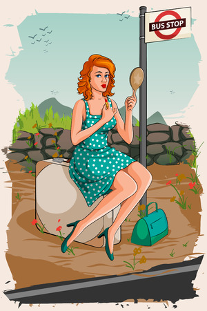 bus stop: Concept of retro woman applying lipstick waiting at bus stop. Vector illustration Illustration