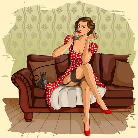 retro phone: Concept of retro woman chatting on phone. Vector illustration