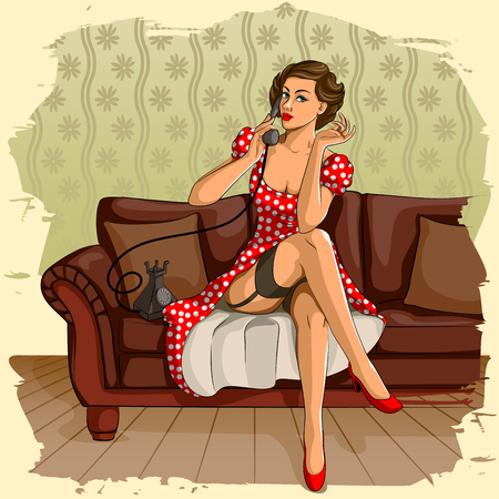 Concept of retro woman chatting on phone. Vector illustration