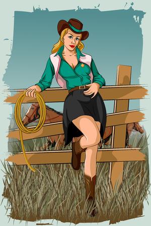 Concepto de mujer retro en el rancho de caballos. ilustración vectorial Foto de archivo - 57032892