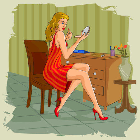 dressing table: Concept of retro woman doing makeup infront of dressing table. Vector illustration