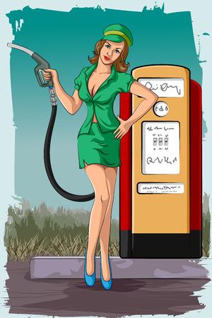 Concept of retro woman holding fuel nozzle in petrol pump. Vector illustration