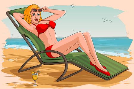 Concetto di retro donna di relax sulla spiaggia. illustrazione di vettore