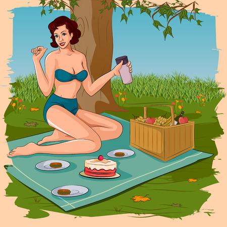food basket: Concept of retro woman enjoying food in picnic. Vector illustration