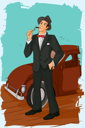 cigar smoking man: Concept of retro man smoking cigar pipe. Vector illustration