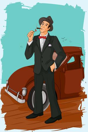 hombre fumando puro: Concepto de hombre retro del tubo de cigarro que fuma. ilustración vectorial