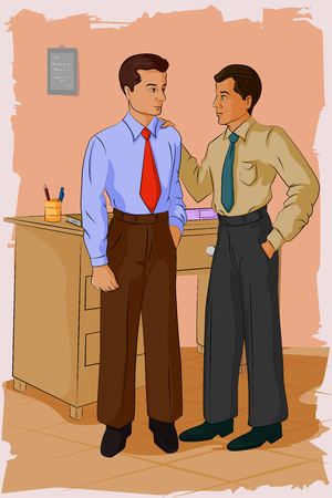 colleague: Concept of retro man in office with colleague. Vector illustration
