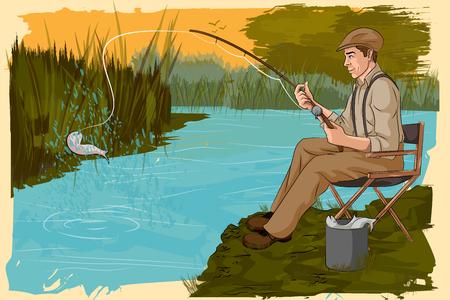 Concept de l'homme de pêche rétro en rivière. Vector illustration