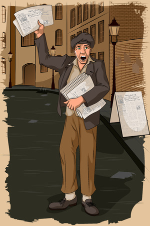 newsstand: Concept of retro man selling newspaper. Vector illustration