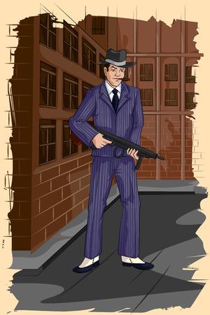 gangster with gun: Concept of retro gangster man with gun. Vector illustration Illustration