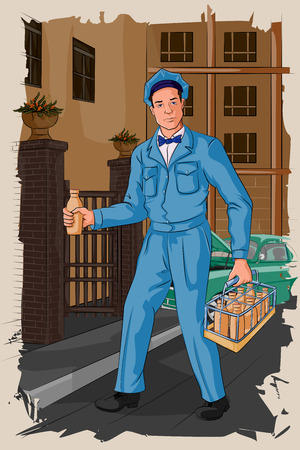 forties: Concept of retro milkman distributing milk. Vector illustration