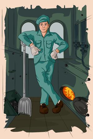 Concept of retro man fueling steam engine. Vector illustration