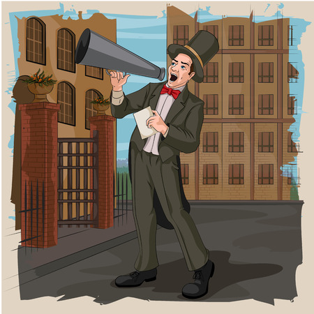 announcing: Concept of retro man announcing with megaphone. Vector illustration Illustration