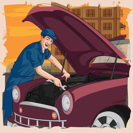 repairing: Concept of retro man repairing car in garage. Vector illustration