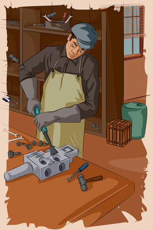 fixing: Concept of retro mechanic working in garage. Vector illustration