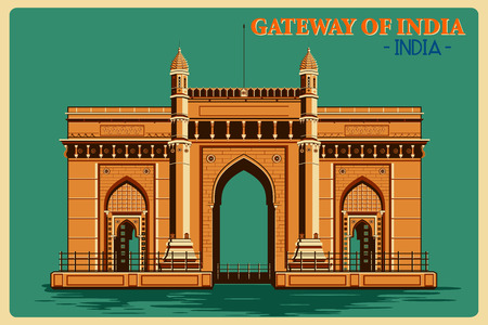 bombay: Vintage poster of Gateway of India in Mumbai, famous monument of India . Vector illustration