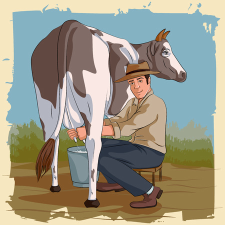 breeder: Concept of retro man milking cow. Vector illustration Illustration