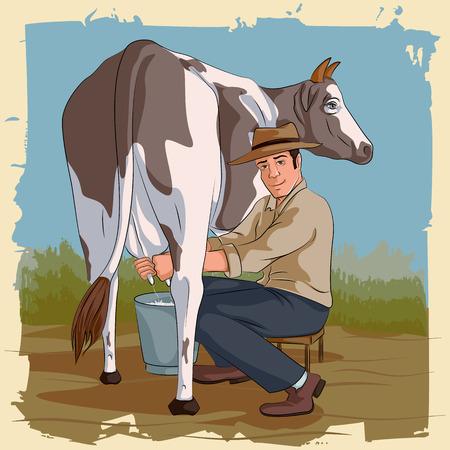 Concept of retro man milking cow. Vector illustration Illustration