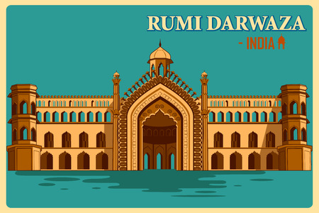 uttar: Vintage poster of Rumi Darwaza of Lucknow, famous monument of India . Vector illustration