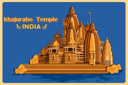 Cartel de la vendimia de Khajuraho templo de Madhya Pradesh, famoso monumento de la India. ilustración vectorial Foto de archivo - 57033015