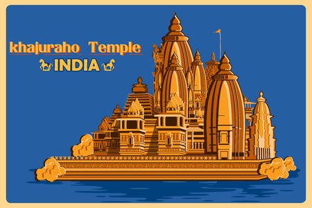monument in india: Vintage poster of Khajuraho Temple of Madhya Pradesh, famous monument of India . Vector illustration