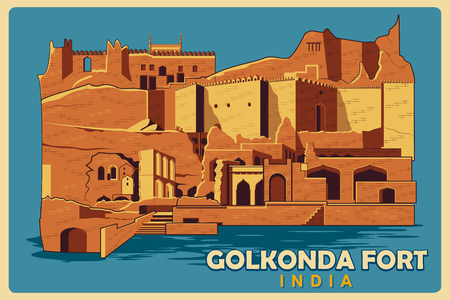 golconda: Vintage poster of Golkonda Fort in Hyderabad, famous monument of India . Vector illustration