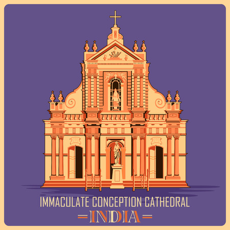 conception: Vintage poster of Immaculate Conception Cathedral in Pondicherry, famous monument of India . Vector illustration