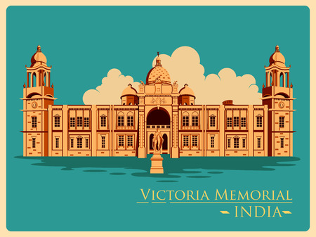 victoria: Vintage poster of Victoria Memorial in Kolkata, famous monument of India . Vector illustration