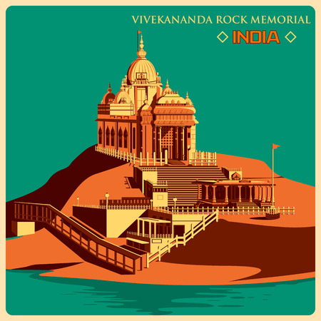 Vintage poster of Vivekananda Rock Memorial in Kanyakumar, famous monument of India . Vector illustration