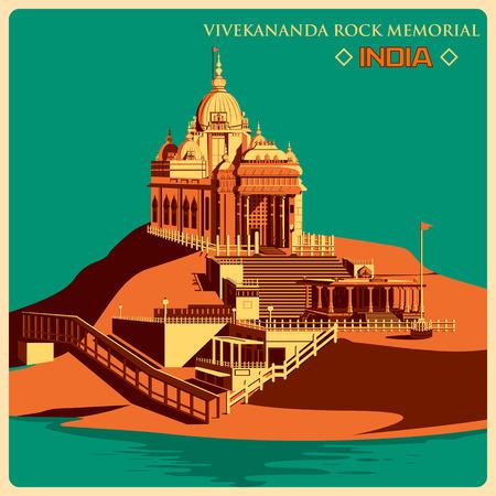 monument in india: Vintage poster of Vivekananda Rock Memorial in Kanyakumar, famous monument of India . Vector illustration