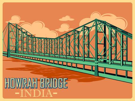 Cartel de la vendimia del Puente Howrah en Calcuta, famoso monumento de la India. ilustración vectorial