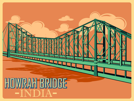 monument in india: Vintage poster of Howrah Bridge in Kolkata, famous monument of India . Vector illustration