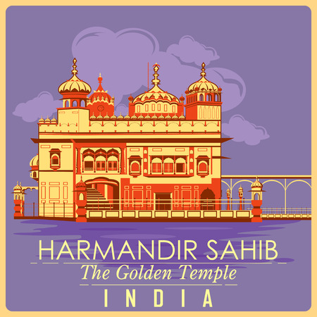 gurudwara: Vintage poster of Golden Temple in Amritsar, famous monument of India . Vector illustration Illustration